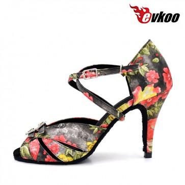 Print with crystal high thin heel woman latin ballroom dance shoes