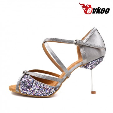 Double high 8.5 cm heel satin with sparking material Latin ballroom dance shoes for ladies