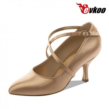 Khaki color made by satin and crystal 7.3 cm heel modern dance shoes for ladies