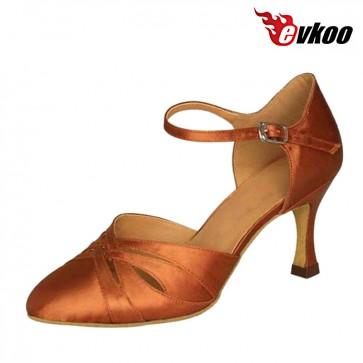 Five color Satin Modern ballroom dance shoes for ladies 7cm heel
