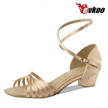 3 cm heel girl's sweet Latin ballroom dance shoes made by satin and color can be customize