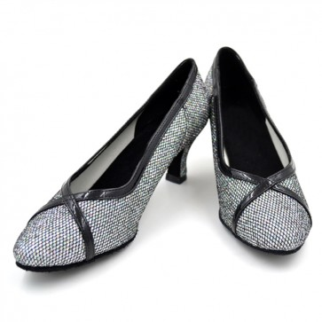Black and white net surface Modern/ballroom middle heel dance shoes