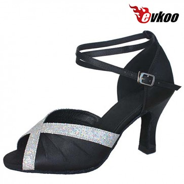 Evkoo Dance Satin With Shiny Woman Open Toe Latin Salsa Dance Shoes evkoo-165