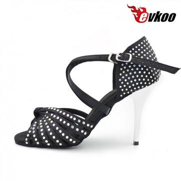 Evkoo Latin Dance Free Shipping Top Quality 8.5cn Silm High Heel Silver-9 cm E-Salon Shoes E-Salsa Woman Evkoo-372