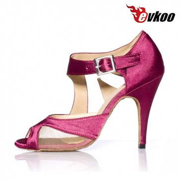 Evkoo High Heel 10CM Ballroom Latin Shoes Satin With Mesh Dance Salsa Shoes Evkoo-386