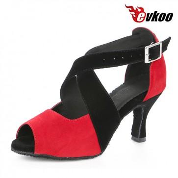 Evkoo Latin Dance Shoes 7cm Heel Nubuck Material Low Price High Quality Hot Sale Evkoo-389