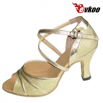 Evkoo Dance Low Heel 6cm 7cm Silver And Gold Leather Sole Latin Salsa Dance Shoes For Ladies Evkoo-185