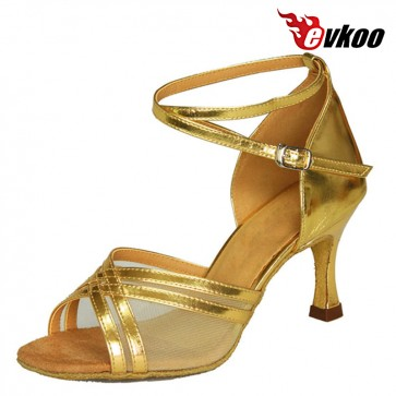 Evkoo Dance Bright Pu With Mesh Salsa Dancing Shoes For Woman 7.3cm Heel New Style Actice Dancing Shoes Evkoo-096