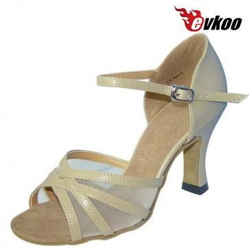 Evkoo Dance Red Khaki Color Pu With Mesh Salsa Dancing Shoes Woman Latin Dance Shoes 7cm Heel Evkoo-102
