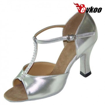 Evkoo Dance Golden Sliver Pu Dancing Shoes For Women Latin And Sexy Black Leather With Diamond Woman Dance Shoes Evkoo-106
