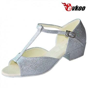 Evkoo Dance Sliver Shiny Latin Tango Salsa Dance Shoes For Girls 3cm Low Heel Evkoo-110