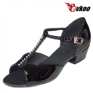 Evkoo Dance Black Patent Leather And Diamond Latin Dance Shoes For GirlsNew Style Evkoo-111