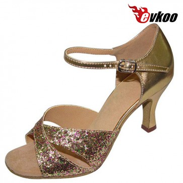 Evkoo Dance Patent Leather With Shiny Woman Latin Salsa Dance Shoes 7cm Heel Active Color For Dancing Evkoo-115