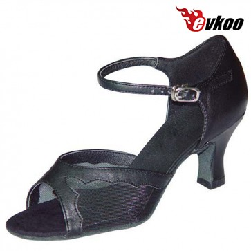 Evkoo Dance Black Khaki Imitate Leather With Mesh Special Latin Dance Shoes For Ladies Evkoo-118
