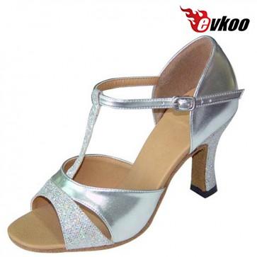 Evkoo Dance Pu And Sparking Latin Salsa Dance Shoes For Woman Golden Sliver Purple Bright Active Color Evkoo-119