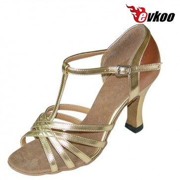 Evkoo Dance  New Arrival Salsa Dancing Shoes T-strap Design Made By Pu Leather Evkoo-120