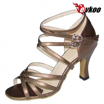 Evkoo Dance Satin Or Pu Woman Latin Salsa Dance Shoes With Long Strap Comfortable Shoes For Dancing Evkoo-122