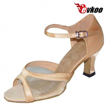 Evkoo Dance Khaki Satin With Mesh Woman Latin Salsa Tango Dance Shoes Hot Sale Shoes Evkoo-124