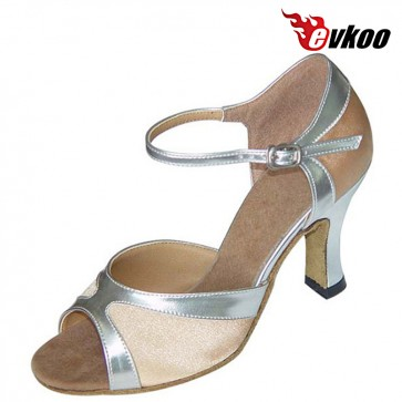 Evkoo Dance Bright Pu Leather With Shiny And Mesh Dancing Shoes Woman Dance Latin Evkoo-125