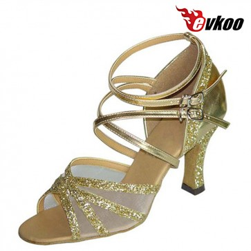 Evkoo Dance Pu And Sparking Much Strap Design For Ladies Latin Tango Dance Shoes Evkoo-128