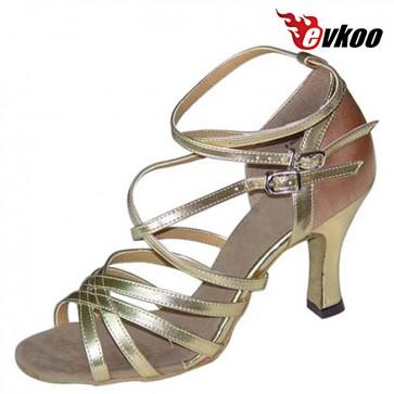 Evkoo Dance Tan With Golden Color Pu Leather Woman Latin Tango Salsa Dance Shoes 7cm Heel Evkoo-130