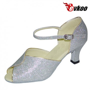 New Style Shiny Woman Modern Ballroom Dance Shoes 7cm Heel Open Toe Factory Price Shoes Evkoo-285