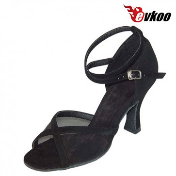 Cheap Latin Shoes Women Free Shipping Evkoodance Nubuck Black Golden Pu And Satin Tan 7cm Salsa Latin Shoes Evkoo-133