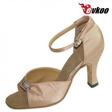 Evkoo Dance Salsa Dance Shoes Narrow Black Khaki Satin With Crystal Woman Latin Shoes evkoo-153