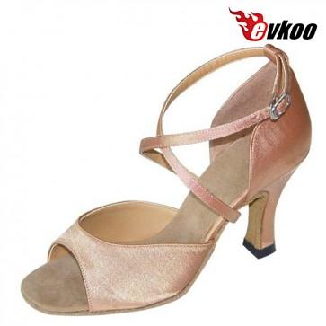 Evkoo Dance Salsa Dance Shoes Woman Black Tan Khaki Satin Or Imitate Leather Dance Shoes Evkoo-139