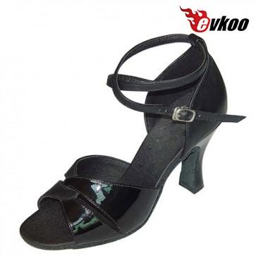 Evkoo Dance Black Patent And Khaki Nubuck Leather Woman Latin Dance Shoes 7cm Heel Evkoo-140