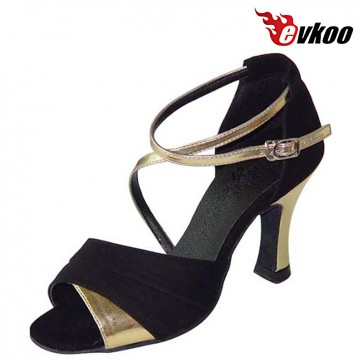 Free Shipping Evkoodance Brand Golden And Silver Pu Salsa Dance Shoes Leather Sole Latin Shoes Women Evkoo-195