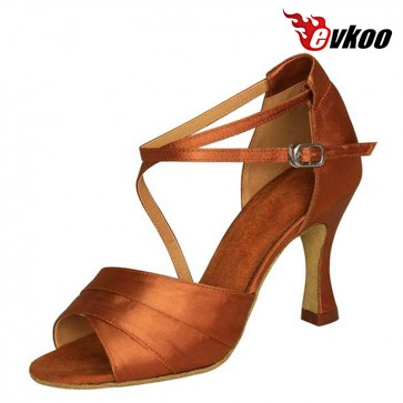 Evkoo Dance Brand Satin Or Pu Five Different Color For Choose Mixed Long Strap Woman Salsa Latin Dance Shoes Evkoo-193