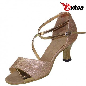 High Quality Coat Of Patent Four Different Color Red Purple Golden Sliver Latin Salsa Dance Shoes For Woman Evkoo-194
