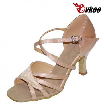 Khaki Color Satin X-Strap Woman Latin Salsa Dance Shoes 7cm Heel  New Arrival Free Shipping Evkoo-196