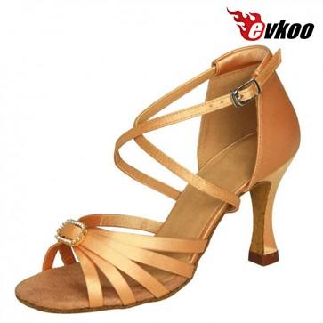 Evkoo Dance Black Red Tan Khaki Woman Salsa Shoes Satin With Crystal Buckle Latin Dance Shoes Evkoo-151