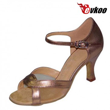 Evkoo Dance Brand Satin With Mesh Woman Cheap Salsa Shoes Tan Khaki Brown Color Hot Sale Evkoo-205