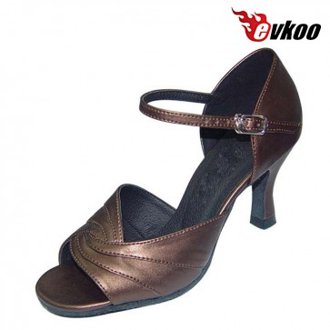 Brown Or Pu Leather Sole Dancing Indoor Woman Latin Shoes Silver Evkoo-207