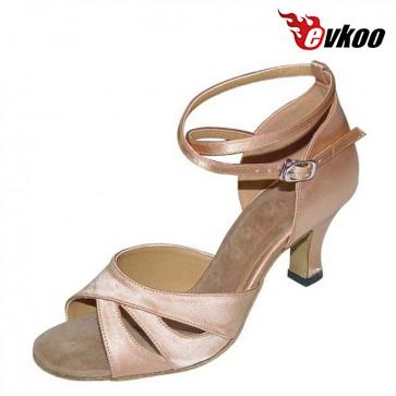 Khaki Long Strap Latin Dance Shoes Woman 36 Evkoo Dance Brand Soft Sole Shoes Evkoo-210