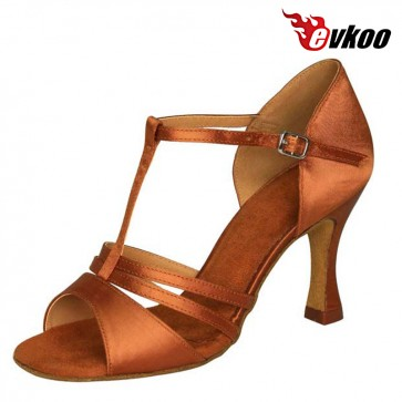 Evkoo Dance Brand Woman Latin Dance Shoes T-strap Style 7 cm Heel Five Different Color Can For Choice Evkoo-211