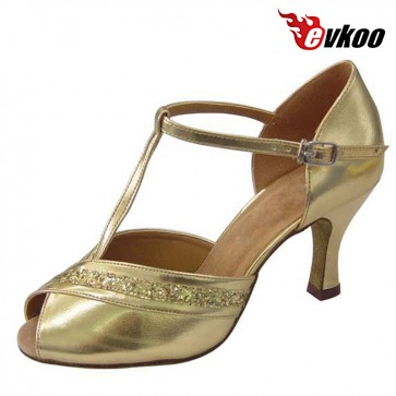 Golden Sliver 4.5/7cm Low Heel Woman Latin Dance Shoes Pu With Shiny Material Free Shipping Evkoo-214