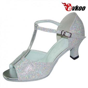 Black Sliver Latin Salsa Tango Dance Shoes For Ladies 7 cm Heel Active Indoor Leather Sole Shoes Evkoo-215
