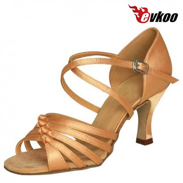 Evkoodance Latin Salsa Dance Shoes 7cm Heel Hot Sale Women Latin Dance Shoes Satin Or Pu Leather Material Evkoo-225