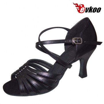 Black Leather Gold Pu Salsa Dance Latin Shoes For Ladies 7cm Heel Hot Sale Popular Dance Shoes Evkoo-226