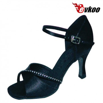 Evkoo Dance Brand Satin With Diamond Special Design Latin Shoes Woman With Middle 7cm Heel Evkoo-239