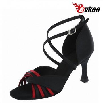 7cm Heel Woman Latin Dance Shoes Black Brown Satin Material Salsa Shoes Popular X-Strap Design Evkoo-240