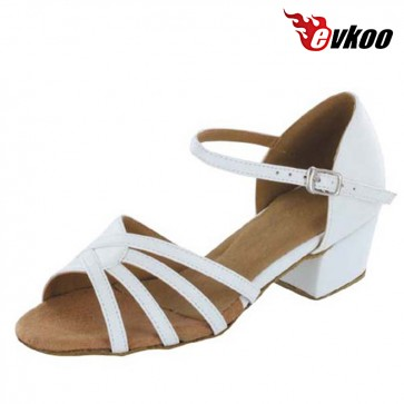 3cm Low Heel Girls Latin Dance Shoes Purple Shiny And Satin White Material Free Shipping Dance Shoes Evkoo-251