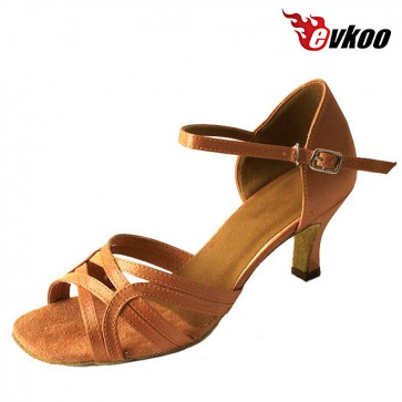 Evkoodance Brand Satin Salsa Practice Shoes For Ladies Hot Sale Free Shipping Dance Shoes Evkoo-258