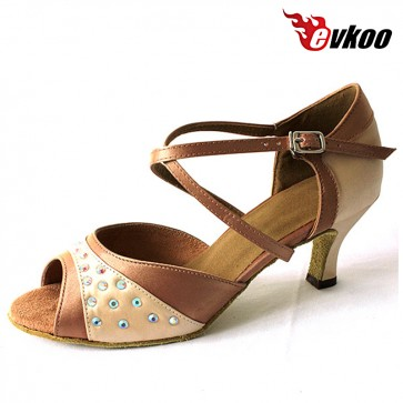 Brown Satin With Diamond 6cm Heel Woman Latin Salsa Shoes New Style High Quality Evkoo-259