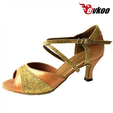 Golden Pu With Shiny Woman Shoes For Salsa 6cm Low Heel Popular Shoes Evkoo-260