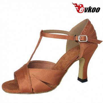 Hot Sale Tan And Black 6 Cm Or 8cm Latin Dance Shoes For Ladies Handmade Factory Price Salsa Shoes Evkoo-265